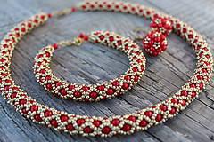 Sady šperkov - červeno-zlatá súprava - 9541445_