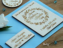 Drevené svadobné oznámenie Venček kvietkový