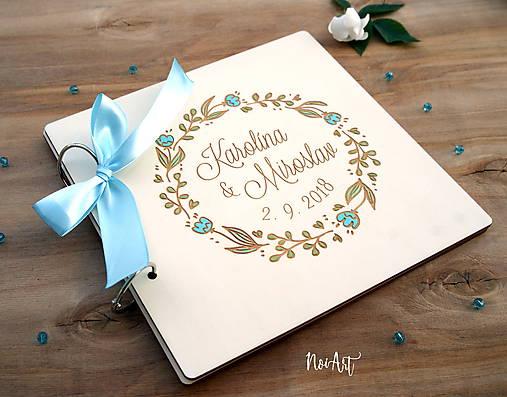 Svadobná kniha hostí, drevený fotoalbum - venček