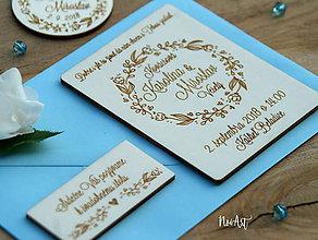 Papiernictvo - Drevené svadobné oznámenie Venček kvietkový - 9540634_
