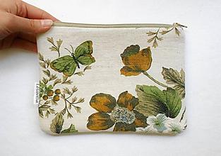 Taštičky - Taštička väčšia - Motýľ a kvety - 9542026_