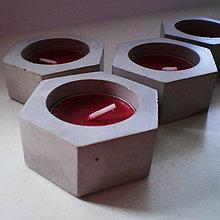 Svietidlá a sviečky - Moderný 6-uholníkový svetlý betónový svietnik EXY - 9542836_