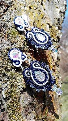 Náušnice - Ligotavé náušnice EMMA (Modrá) - 7890148_