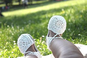 Topánočky - Topánočky na členkové viazanie- biela - 9543010_