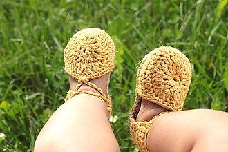 Topánočky - Topánočky na členkové viazanie-  zlatá - 9543027_