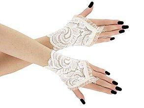 Rukavice - Dámské ivory čipkové rukavice pre nevestu 05P2 - 9543354_