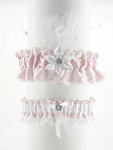 Bielizeň/Plavky - set podväzok růžový saténový s čipkou pre nevestu 12C (Bordová) - 9543369_