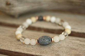 Náramky - Náramok z minerálu korál, fosília, jadeit, krištáľ - 9541137_