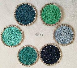 Úžitkový textil - Háčkované podšálky-pre milovníkov modrozelených tónov - 9540529_