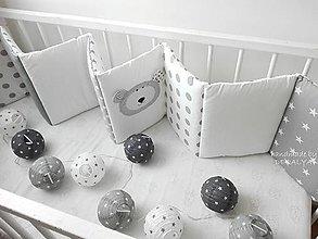 Textil - Mantinel do postieľky 240 x 30cm Basic sivý macko - 9546068_
