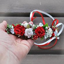 Ozdoby do vlasov - Venček s ružičkami a malinami, červeno- biely - 9544274_
