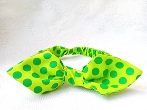Ozdoby do vlasov - Pin Up headband on elastic (neon green/green polka dots) - 9545568_