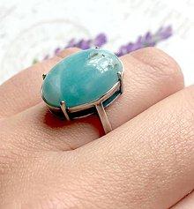 Prstene - ZĽAVA 45% Vintage Amazonite Antique Silver Ring / Prsteň s amazonitom v starostriebornom prevedení /0217 - 9546212_