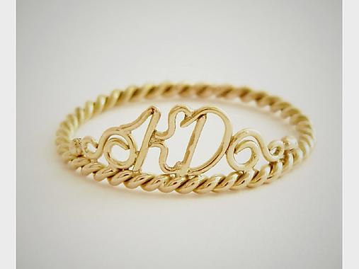 ed37f6b33 585/14k zlatý prsteň Monogram podľa vašej voľby / soamijewelry ...