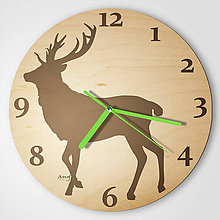 Hodiny - Jeleň pre poľovníka - plywood clocks - 9544357_