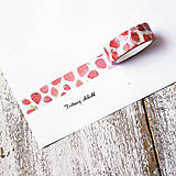 Papier - Washi pásky Ovocné 1,5 cm x 7 m (Jahody) - 9544469_