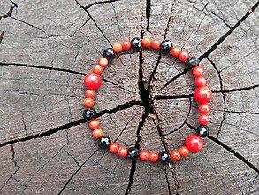 Náramky - black turmalin and red koral - 9544486_