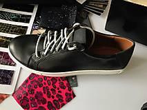 Obuv - Pánske čierne kožené tenisky - 9546085_