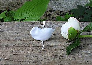 Náhrdelníky - porcelánový prívesok vtáčik na striebornej retiazke - 9544534_