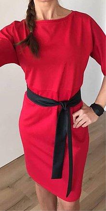 Šaty - Červené šaty s čierným opaskom - 9544118_