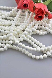 Minerály - perleť korálky 6mm - biela perleť A kvalita - 9544604_