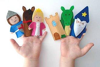 Hračky - Bábky na prsty: Rytier a princezná - 9543824_