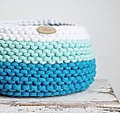 Košíky - Pletený košík - farby oceánu - 9546195_