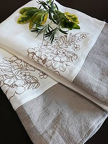 Úžitkový textil - Set dvoch ľanových utierok s výšivkou - 9545044_
