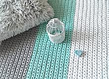 Úžitkový textil - Háčkovaný koberec gray, mint, white - 9543790_