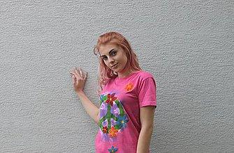 Tričká - Kvetované bavlnené ružové hippies tričko PEACE veľkosť S - 9546333_
