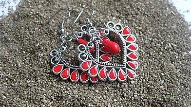 Náušnice - Veľké srdcové náušnice s kamienkami (červené č.2123) - 9545829_