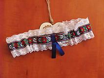 Bielizeň/Plavky - Folklorny podväzok 6cm s modrou krojovkou - 9543895_