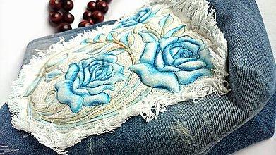 Kabelky - Malá kabelka - maľovaná - denim - 9547220_