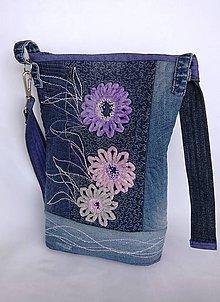 Iné tašky - Taška denim s mäkkými kvietkami - 9547987_