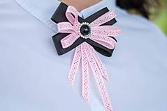 Odznaky/Brošne - Brošňa pod golier Coline - čierna s ružovou - 9548789_
