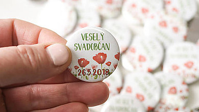 Darčeky pre svadobčanov - Svadobný odznak, svadobná brošňa, button - 9547185_