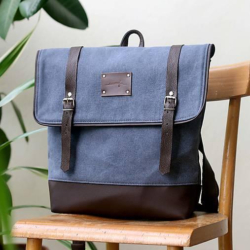 Aktovkový batoh Olivia (modro-hnedý)