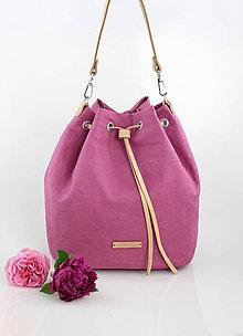 Kabelky - Veľký štýlový batôžtek z ružového francúzskeho ľanu