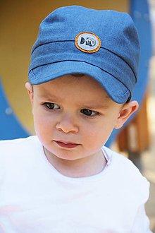 Detské čiapky - Šiltovka Rybička 100% ľan petrolejová - 9547921_