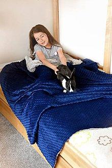 Úžitkový textil - Minky deka-prehoz Navy & Silver 140cm x 200cm - 9549367_