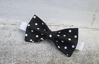 Detské doplnky - Detský motýlik čierny s bielou bodkou - 9547809_