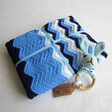 Úžitkový textil - Háčkovaná deka cik - cak v modrom - 9549183_