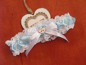 Bielizeň/Plavky - Svadobný podväzok 5,5cm so srdiečkom - 9546895_