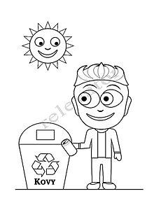 Hračky - Omaľovánky - listy na vytlačenie na tému OCHRANA ŽIVOTNÉHO PROSTREDIA (Chlapec recykluje kovy) - 9547680_