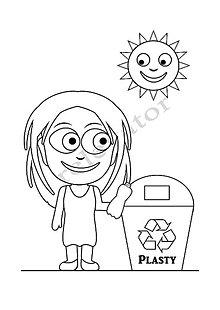 Hračky - Omaľovánky - listy na vytlačenie na tému OCHRANA ŽIVOTNÉHO PROSTREDIA (Dievča recykluje plasty) - 9547689_