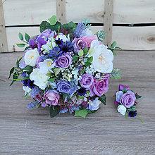Kytice pre nevestu - Svadobná kytica fialová s ružami a sukulentami - 9549979_
