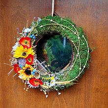 Dekorácie - Veniec na dvere prírodný so slnečnicami a makmi - 9551194_