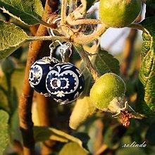 Náušnice - Modrotiskové náušnice - jablíčka - 9550974_
