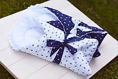 Textil - Ľudová zavinovačka (Biela s modrou mašľou) - 9549813_