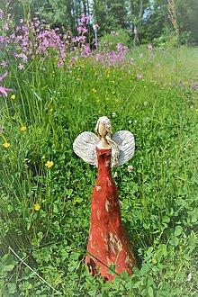 Socha - Anjelská múza v červenom - 9550503_